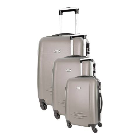 Travel One Set of 3 Beige Spinner Burlin Suitcases 50/60/70cm
