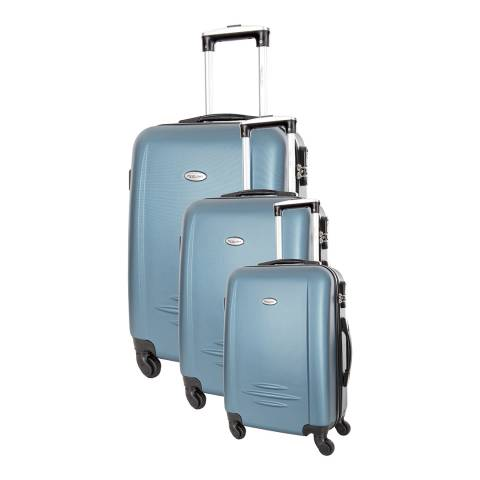 Travel One Set of 3 Blue Spinner Burlin Suitcases 50/60/70cm