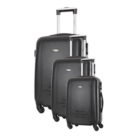 Travel One Set of 3 Black Spinner Burlin Suitcases 50/60/70cm
