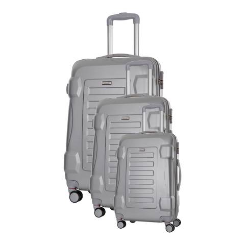 Travel One Set of 3 Silver Spinner Linden Suitcases 50/60/70cm
