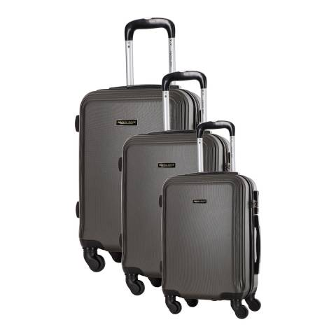 Travel One Set of 3 Grey Spinner Alicudi Suitcases 45/55/65cm