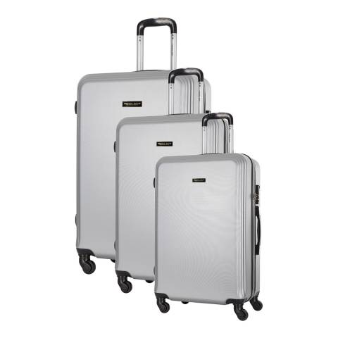 Travel One Set of 3 Silver Spinner Alicudi Suitcases 45/55/65cm