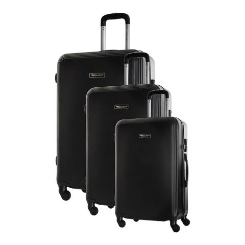 Travel One Set of 3 Black Spinner Alicudi Suitcases 45/55/65cm