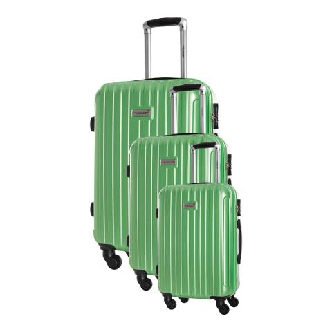 Travel One Set of 3 Green Spinner Paterson Suitcases 45/55/65cm