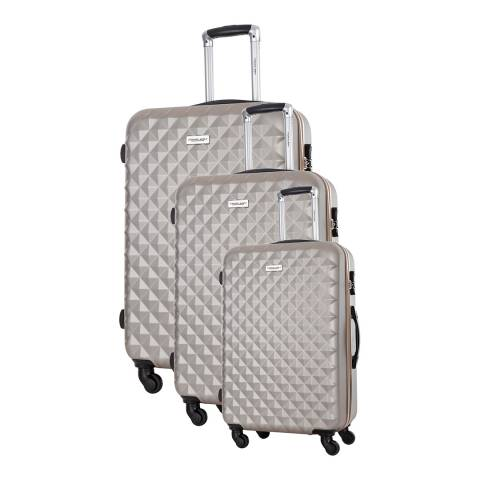 Travel One Set of 3 Beige Spinner Edison Suitcases 45/55/65cm