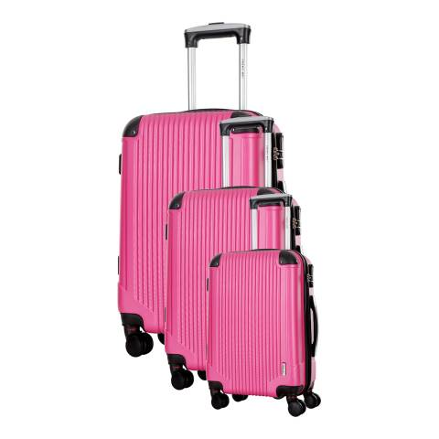 Travel One Set of 3 Fuchsia Spinner Burnaby Suitcases 50/60/70cm