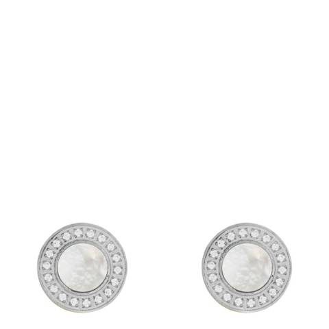 White label by Liv Oliver Silver Mother Of Pearl Cz Disc Earrings