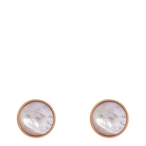 White label by Liv Oliver Rose Gold Mother Of Pearl Circular Earrings