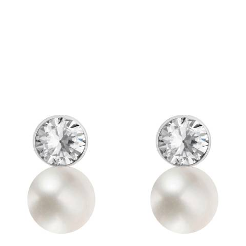 White label by Liv Oliver Silver Crystal/Pearl Drop Earrings