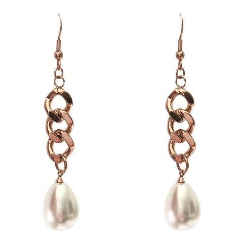 White label by Liv Oliver Rose Gold Chain Link Pearl Drop Earrings