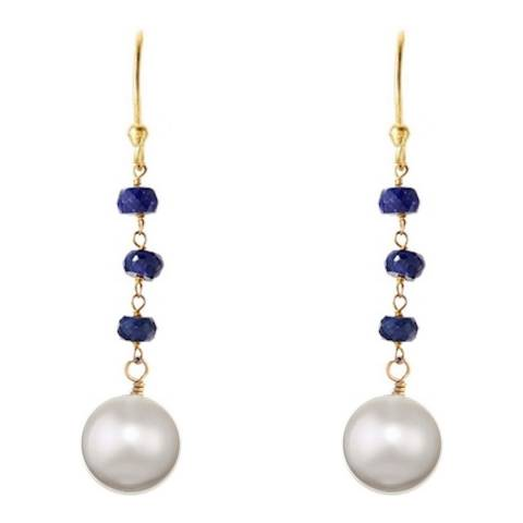 Liv Oliver 18K Gold Sapphire and Pearl Drop Earrings