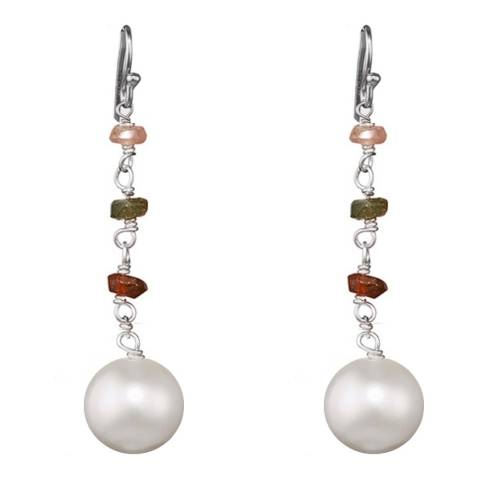 White label by Liv Oliver Sterling Silver Multi Tourmaline and Pearl Drop Earrings
