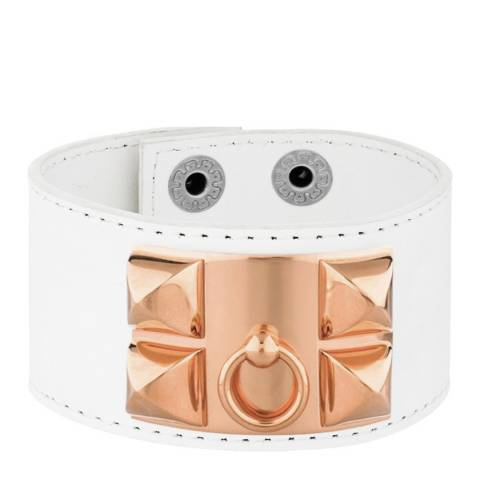 White label by Liv Oliver Rose Gold and White Leather Bracelet