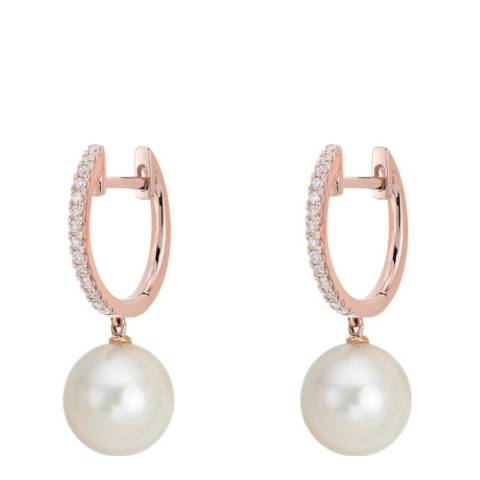White label by Liv Oliver Rose Gold Cubic Zirconia and Pearl Drop Earrings
