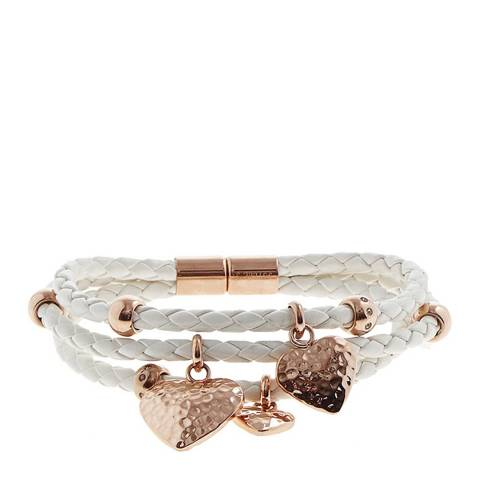 White label by Liv Oliver Rose Gold Triple Strand Leather Bracelet With Heart Drops