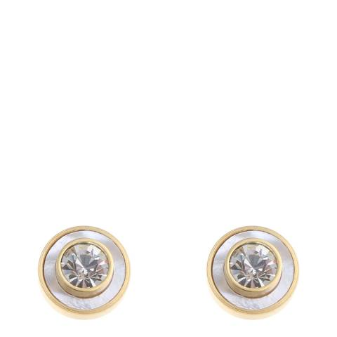 White label by Liv Oliver Gold Cubic Zirconia and Mother Of Pearl Bezel Stud Earrings