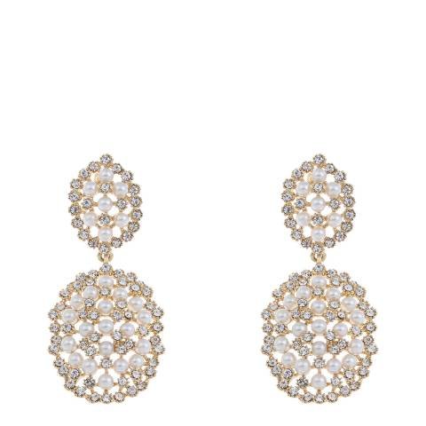 White label by Liv Oliver Gold Pearl and Crystal Statement Earrings