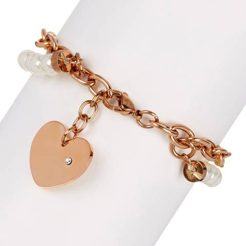 White label by Liv Oliver Rose Gold Pearl Heart Charm Bracelet