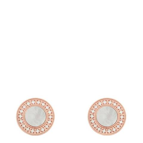 White label by Liv Oliver Rose Gold Mother Of Pearl Cubic Zirconia Earrings