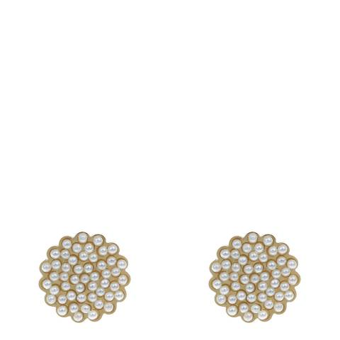 White label by Liv Oliver Gold Flower and Pearl Stud Earrings