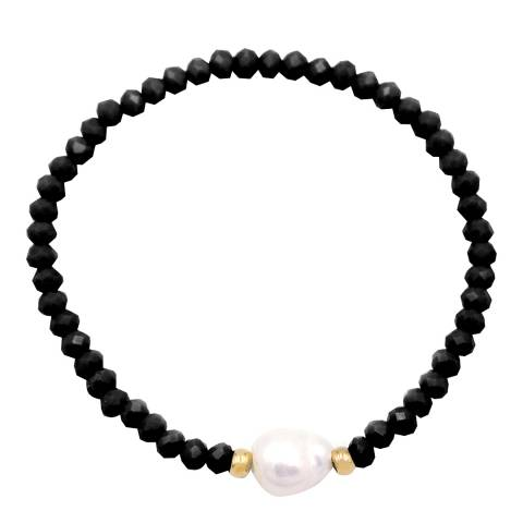 White label by Liv Oliver Gold Onyx And Pearl Gemstone Bracelet
