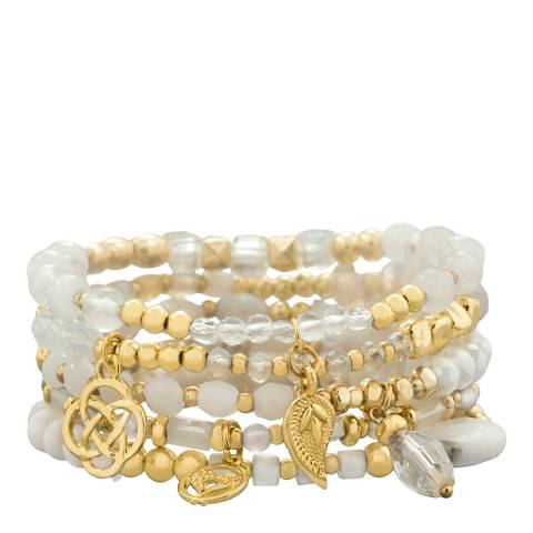 White label by Liv Oliver Gold White Agate And Pearl Charm Bracelet Set