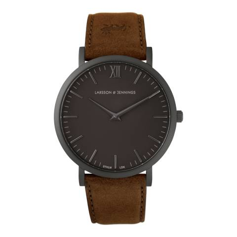 Larsson & Jennings Brown Black/Black Leather Lugano 40mm Watch