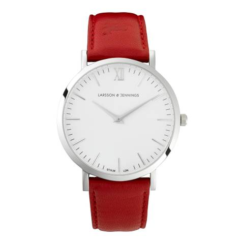 Larsson & Jennings Red Silver/White Leather Lugano 40mm Watch