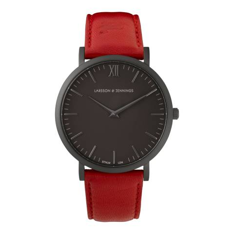 Larsson & Jennings Red Black/Black Leather Lugano 40mm Watch