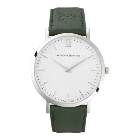 Larsson & Jennings Green Silver/White Leather Lugano 40mm Watch