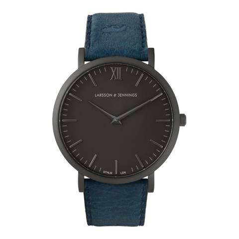 Larsson & Jennings Blue/Black Lugano 40mm Leather Watch