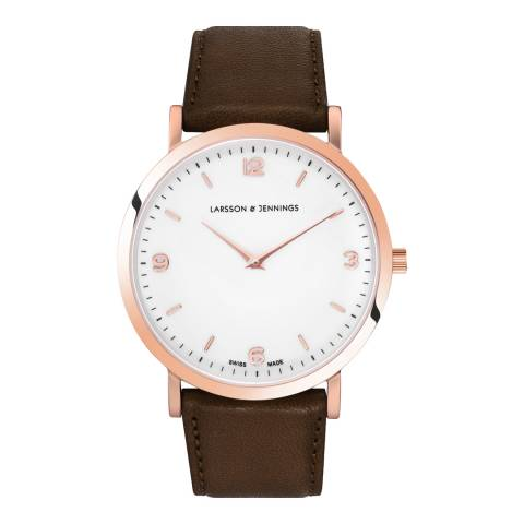 Larsson & Jennings Rose Gold/White Leather Lugano 38mm Watch