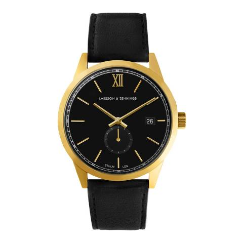 Larsson & Jennings Black Gold/Black Leather Saxon IV 39mm Watch