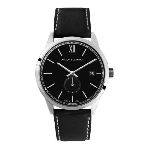 Larsson & Jennings Black Silver/Black Leather Saxon I 39mm Watch