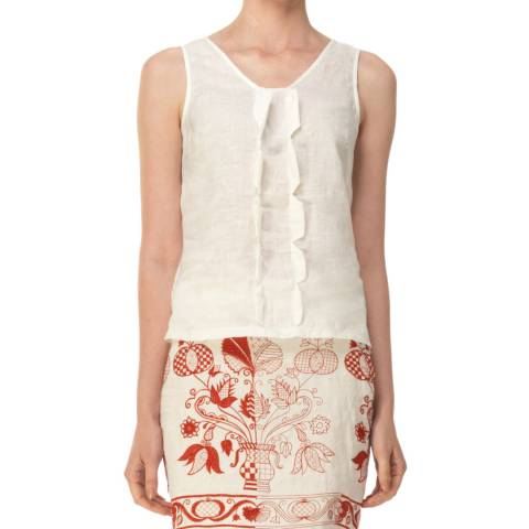 Max Studio White V Neck Linen Sleeveless Top