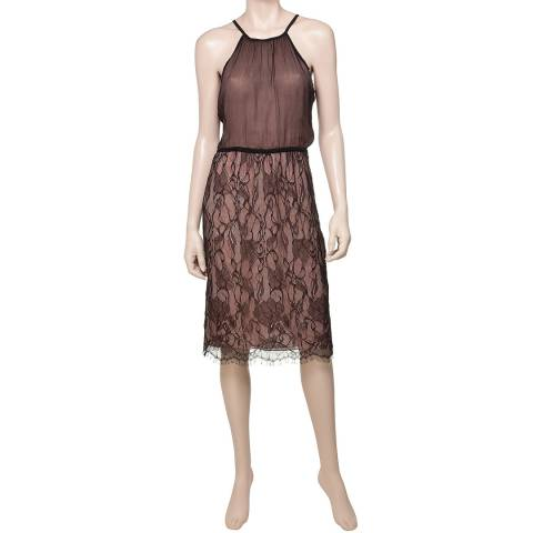 Leon Max Collection Black And Nude Chiffon Lace Halter Dress