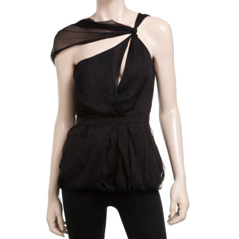 Leon Max Collection Black Silk Draped Shoulder Blouse