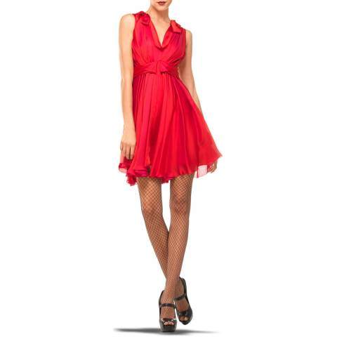 Leon Max Collection Red Dress With Draped Neckline