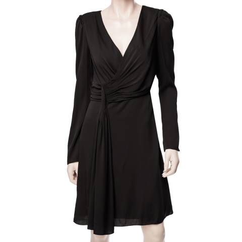 Leon Max Collection Black Silk Georgette Long Sleeve Dress