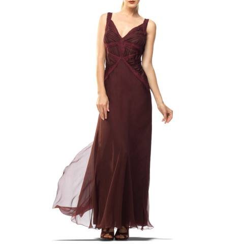 Leon Max Collection Burgundy Silk Chiffon Evening Gown