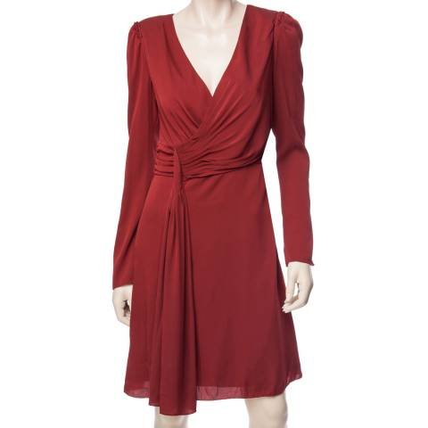 Leon Max Collection Burgundy Silk Georgette Long Sleeve Dress