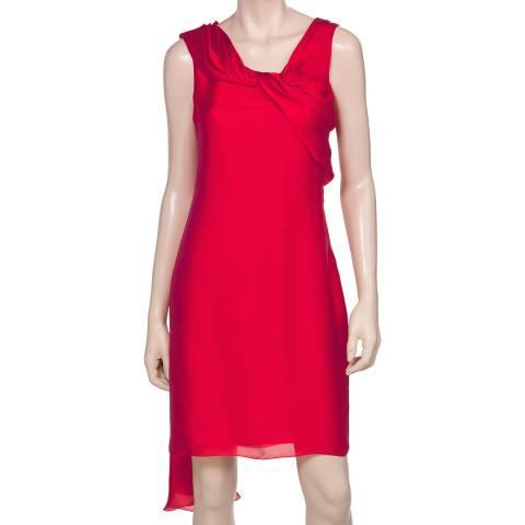 Leon Max Collection Red Silk Twist Neck Dress