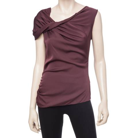 Leon Max Collection Plum Stretch Silk Twisted Shoulder Blouse