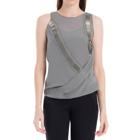 Leon Max Collection Grey Silk Beaded Drape Sleeveless Top