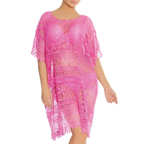 Freya Pink Hippie Chic Crochet Cotton Tunic