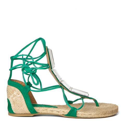 Castaner Green Suede Irina Lace Up Sandals