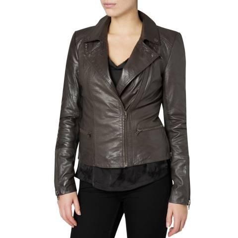 Muubaa Grey Almora Fitted Leather Biker Jacket