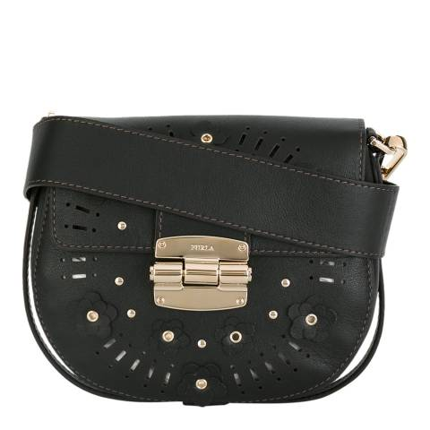 Furla Black Floral Cut Club Saddle Bag