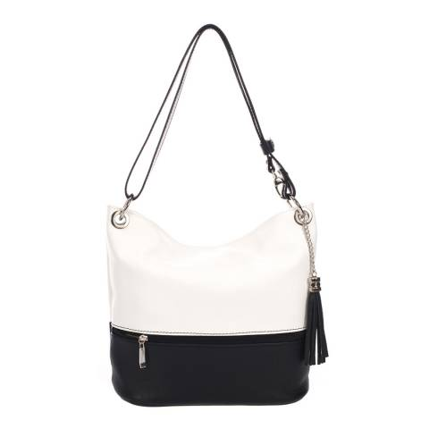 Giorgio Costa White/Black Two Tone Shoulder Leather Bag