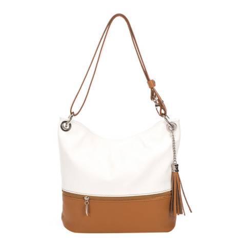 Giorgio Costa White/Tan Two Tone Shoulder Leather Bag